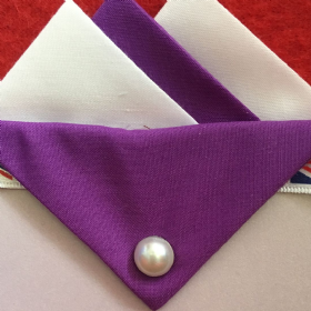 White and Purple Hankie With Purple Flap and Pin